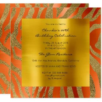 Or orange de corail de moutarde de peau d'animal carton d'invitation  13,33 cm
