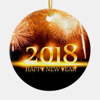 Or ornement de 2018 feux d'artifice de bonne année