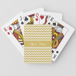 Or personnalisé et chevrons blancs jeux de cartes