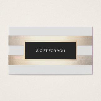 Or rayé de FAUX et chèque-cadeau noir de plaque
