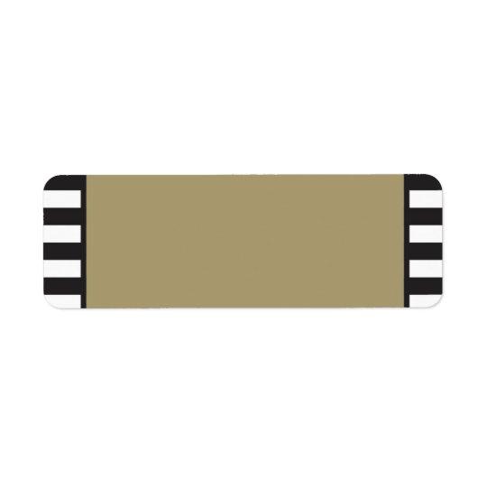 Or - rayures noires et blanches - adresse de étiquette d'adresse retour