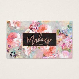 Or rose d'aquarelle de typographie florale de cartes de visite