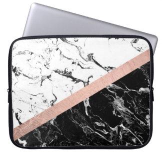Or rose de bloc de marbre blanc noir moderne de trousses ordinateur