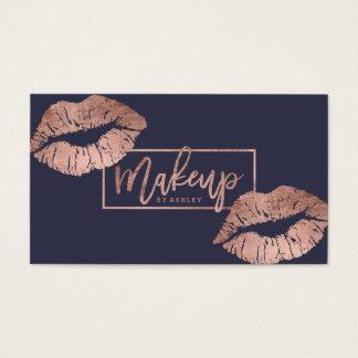Or rose de faux de lèvres de typographie de cartes de visite