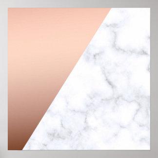 or rose de marbre blanc géométrique élégant de poster