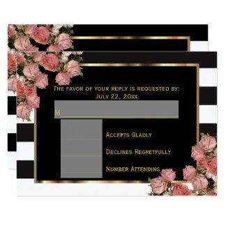 Or rose de RSVP épousant la rayure noire et Carton D'invitation 8,89 Cm X 12,70 Cm