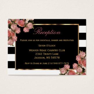 Or rose épousant la rayure noire et blanche - cartes de visite
