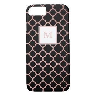 Or rose et caisse noire de téléphone de quatrefoil coque iPhone 7