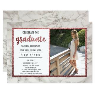 Or rose et fête de remise des diplômes blanche de carton d'invitation  12,7 cm x 17,78 cm