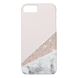 Or rose, scintillement d'or, et marbre coque iPhone 7