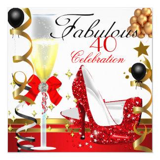 Or rouge 40 et quarantième fête d'anniversaire carton d'invitation  13,33 cm