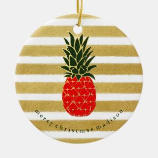 Or rouge et ananas tropical de Noël vert Ornement Rond En Céramique
