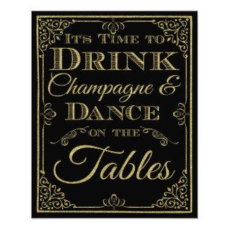 or scintillant et signe noir de mariage de danse impressions photo