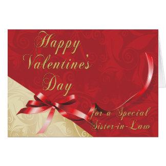 Or spécial de belle-soeur et coeur en filigrane carte de vœux