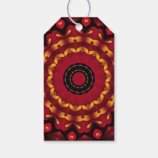 Or sur le mandala rouge étiquettes-cadeau
