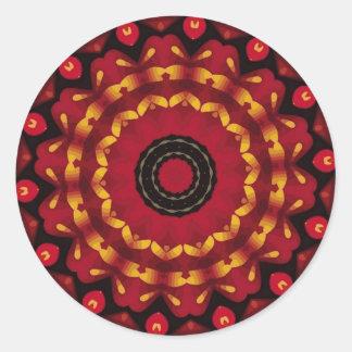 Or sur le mandala rouge sticker rond