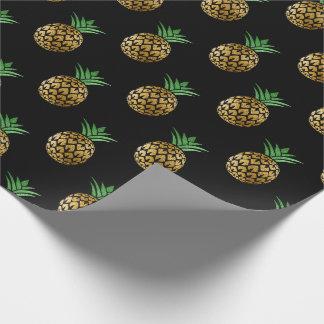 Or tropical de noir de vert de fruit d'ananas papier cadeau