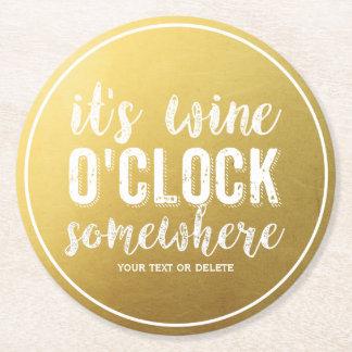 Or vintage de typographie de buveurs drôles de vin dessous-de-verre rond en papier
