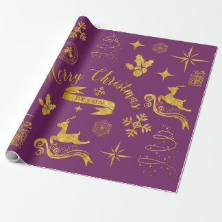Or vintage personnalisé et enveloppe pourpre de papier cadeau noël
