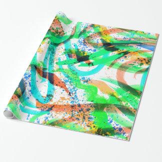 Orange au néon de vert bleu d'éclaboussure de papier cadeau noël