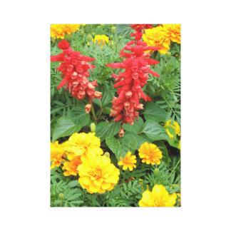 Orange/copie rouge et jaune de toile de fleurs