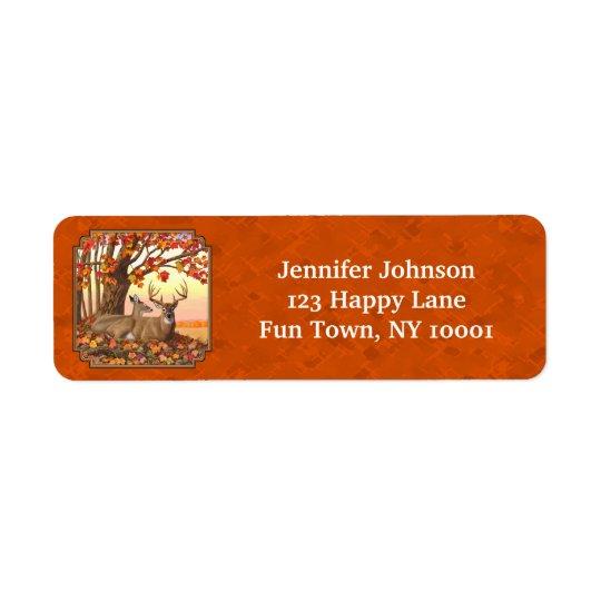 Orange d'automne d'arbre d'érable de cerf de étiquette d'adresse retour