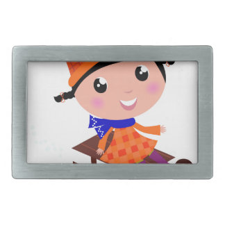 Orange de fille de patinage de glace boucles de ceinture rectangulaires