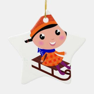 Orange de fille de patinage de glace ornement étoile en céramique