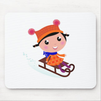 Orange de fille de patinage de glace tapis de souris