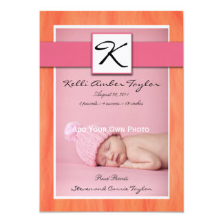 Orange de rose de faire-part de naissance de bébé
