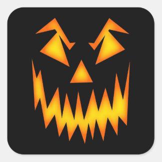 Orange effrayante de visage Halloween noir Sticker Carré