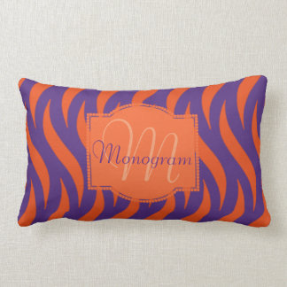 Orange et conception pourpre avec le monogramme coussin rectangle