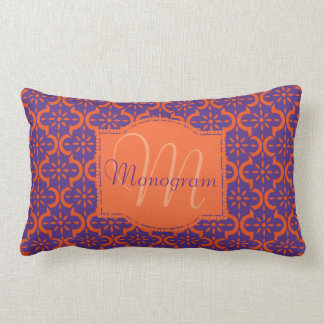 Orange et pourpre avec le monogramme coussin rectangle