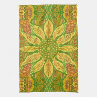 Orange florale de Bohème de vert jaune d'art de Serviettes Éponge