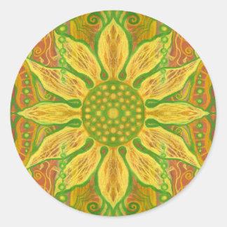 Orange florale de Bohème de vert jaune d'art de Sticker Rond