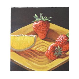 Orange juteuse de fraise d'agrume bloc-note