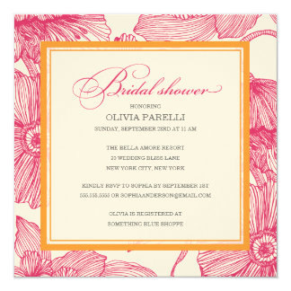 ORANGE + LE ROSE FLEURIT L'INVITATION NUPTIALE DE CARTON D'INVITATION  13,33 CM