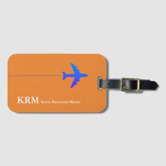 orange personnalisée d'avion de voyage étiquette à bagage