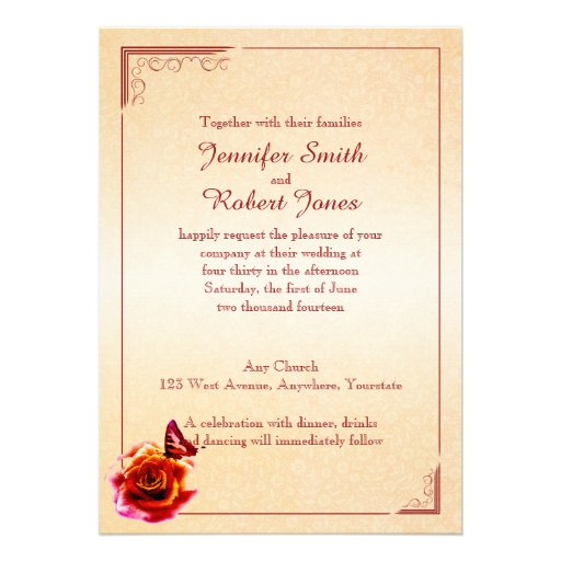 Orange rose et faire-part de mariage de papillon