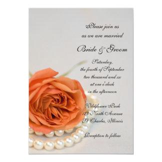 Orange rose et faire-part de mariage de perles