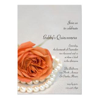 Orange rose et invitation de partie de Quinceanera