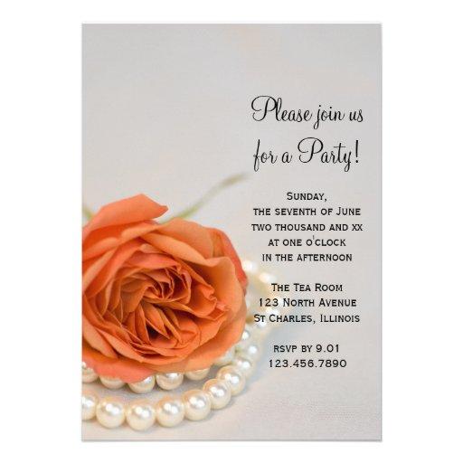 Orange rose et invitation générale de partie de pe