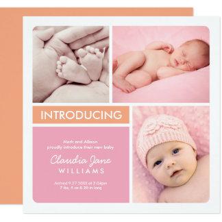 Orange rose multiple du faire-part de naissance |