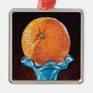 Orange royale ornement carré argenté