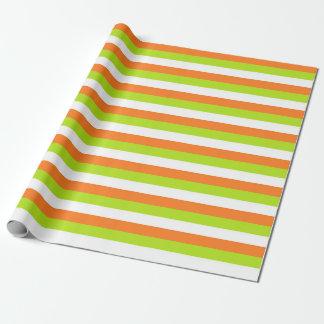 Orange, vert de chaux et rayures de blanc papiers cadeaux noël