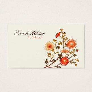 Orange vintage de fleurs, arrière - plan jaune cartes de visite