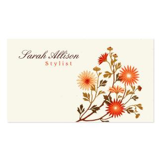 Orange vintage de fleurs, arrière - plan jaune pâl carte de visite standard