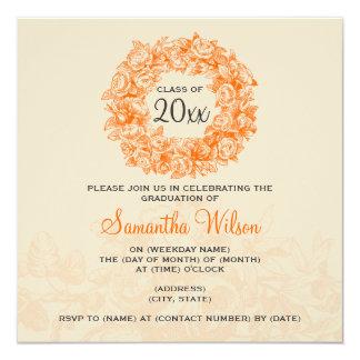 Orange vintage Tan de roses de fête de remise des Carton D'invitation 13,33 Cm