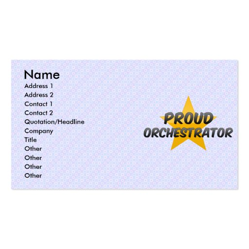 Orchestrateur fier modèles de cartes de visite