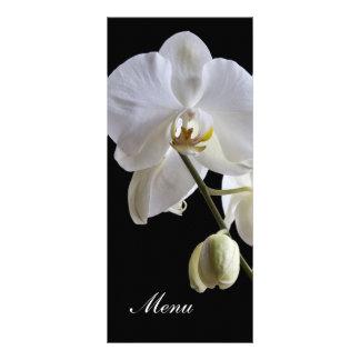 Orchidée blanche sur le menu noir de mariage double cartes customisées